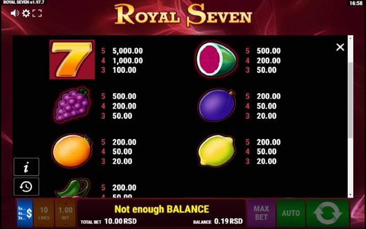 Royal Seven, Bonus Casino