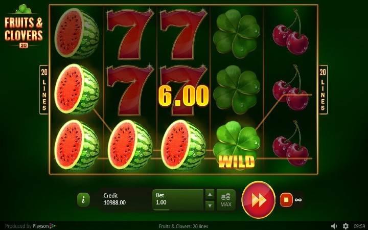 Fruits and Clovers: 20 lines, Bonus Casino