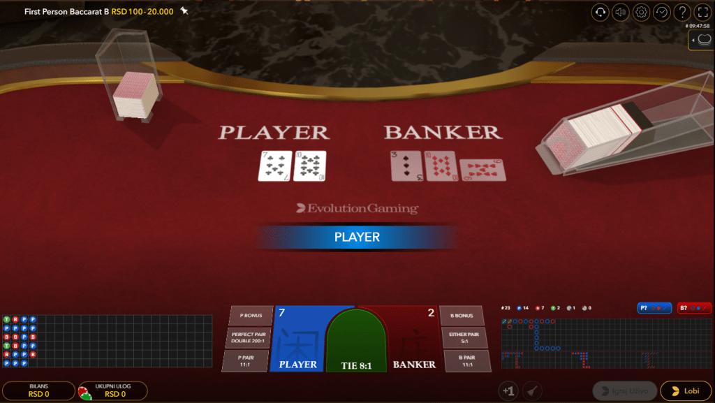 First Person Baccarat, Evolution, Bonus Casino