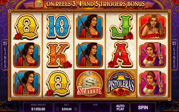 Pistoleras, Microgaming, Bonus Casino