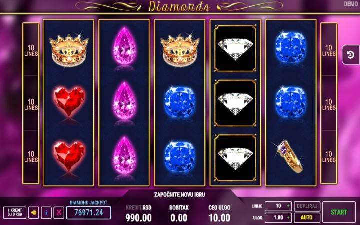 Diamonds, online casino bonus