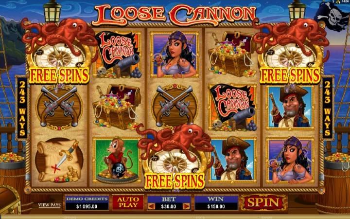 Besplatni spinovi, online casino bonus, Loose Cannon