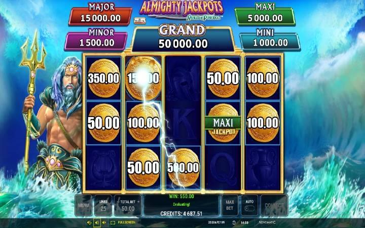 Almighty Jackpots Realm of Poseidon, džekpot, Bonus Casino
